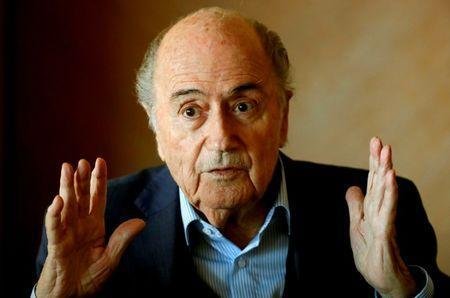 FILE PHOTO: Former FIFA President Sepp Blatter gestures during a round table talk with journalists in Zurich, Switzerland March 8, 2018. REUTERS/Arnd Wiegmann/File Photo