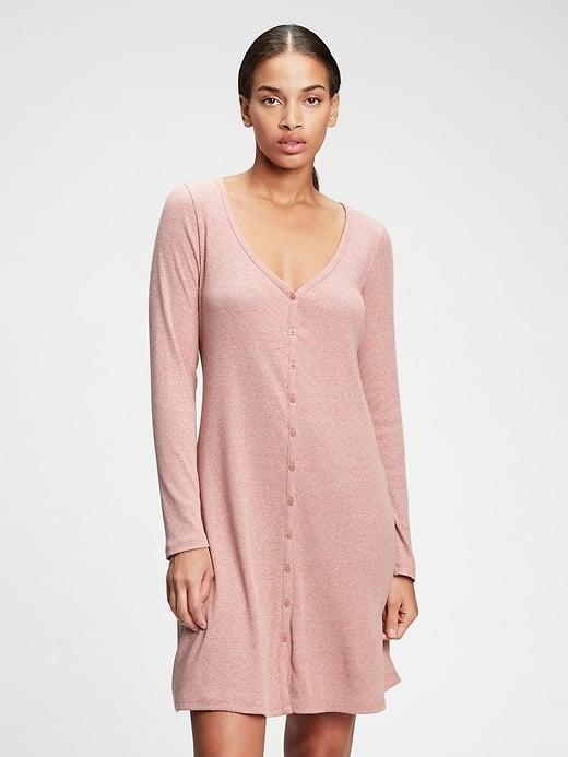 <p>This soft knit <span>Gap Triblend Button-Front Flare Dress</span> ($34, originally $70) is cozy solo or worn over tights. </p>