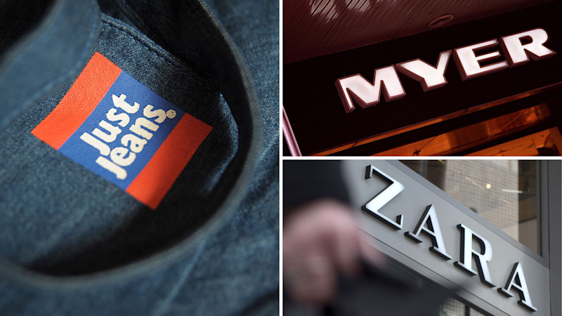 Pictured: Just Jeans, Zara, Myer logos. Images: Getty