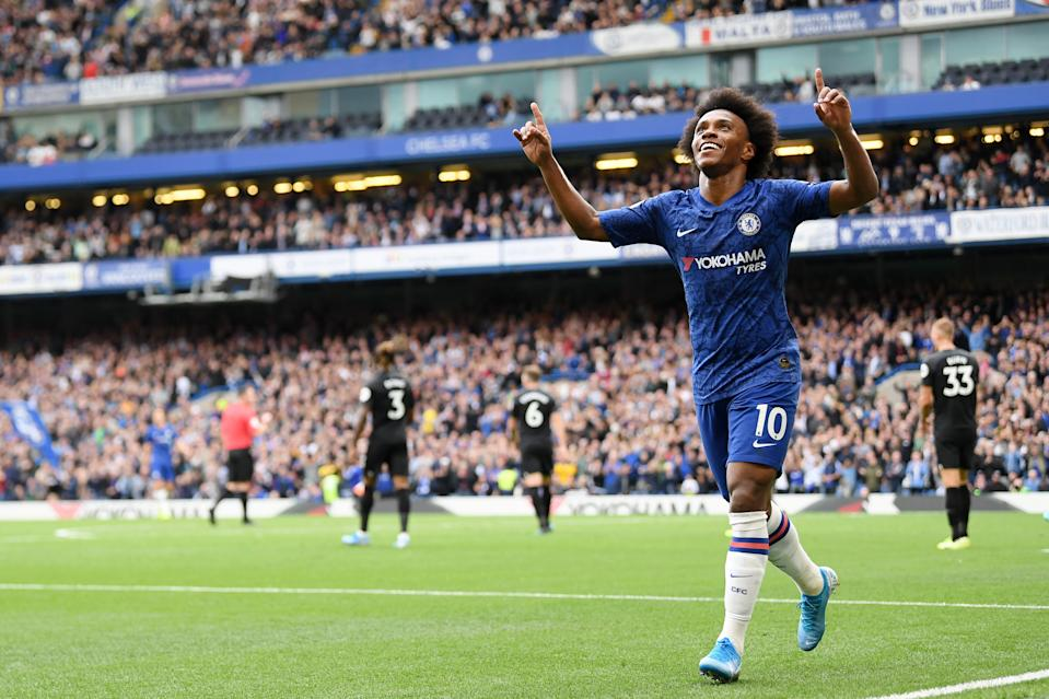 LONDON, ENGLAND - SEPTEMBER 28: Willian of Chelsea celebrates after scoring his team's second goal during the Premier League match between Chelsea FC and Brighton & Hove Albion at Stamford Bridge on September 28, 2019 in London, United Kingdom. (Photo by Darren Walsh/Chelsea FC via Getty Images)