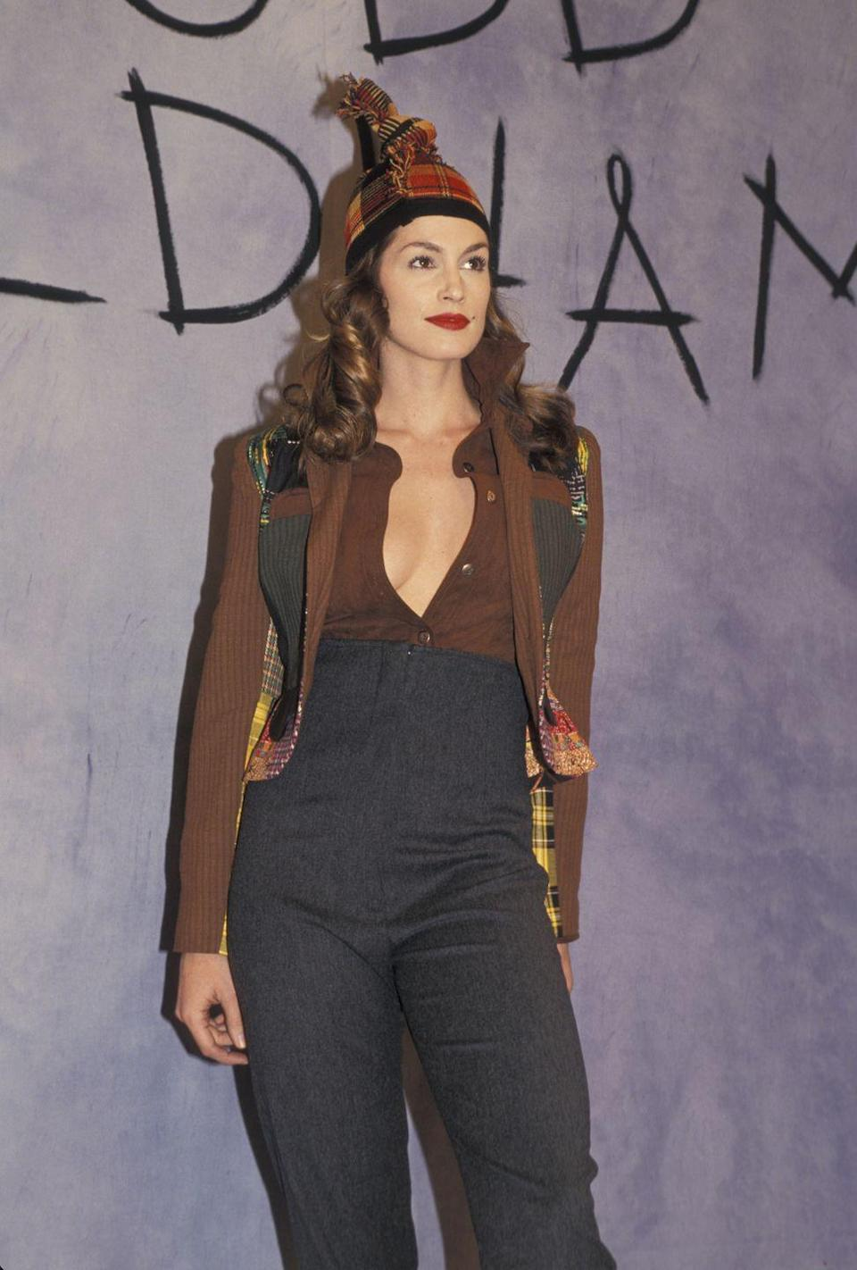 <p>Cindy Crawford debuted a Todd Oldham re-imagining of fall favorites, including plaid and high-waisted denim.</p>