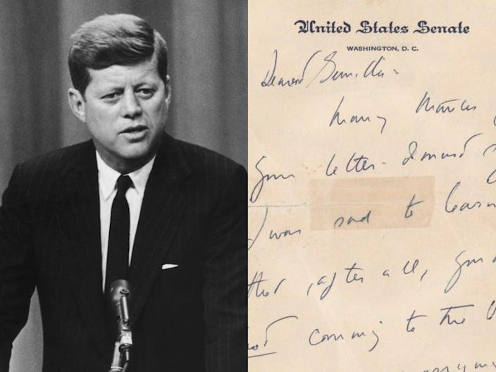 <p>One autograph signed letter and two partial handwritten letters are currently listed for auction on RR auction, and are dating between 1955 and 1956</p> (Getty Images/ RR Auction)