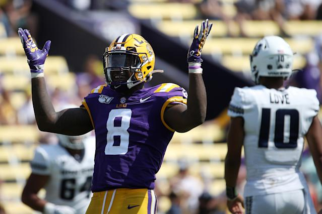 LSU LB Patrick Queen was a force against Utah State. (Getty Images)
