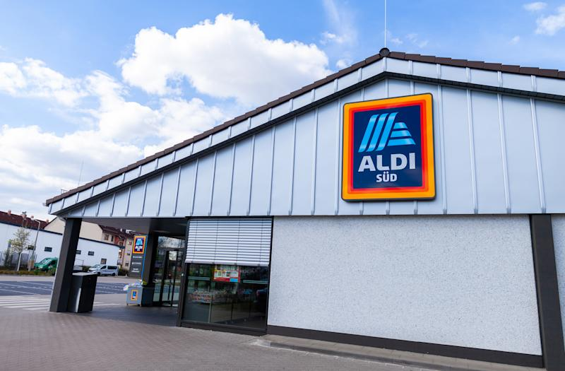 Nuremberg / Germany - April 7, 2019: Branch from Aldi supermarket chain. Aldi is the common brand of two German family owned discount supermarket chains with over 10,000 stores in 20 countries.