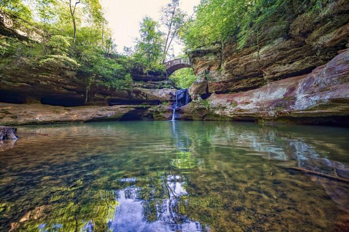 <p>In South Logan, Ohio you can find the waterfall at Old Man's Cave in Hocking Hills State Park.</p>