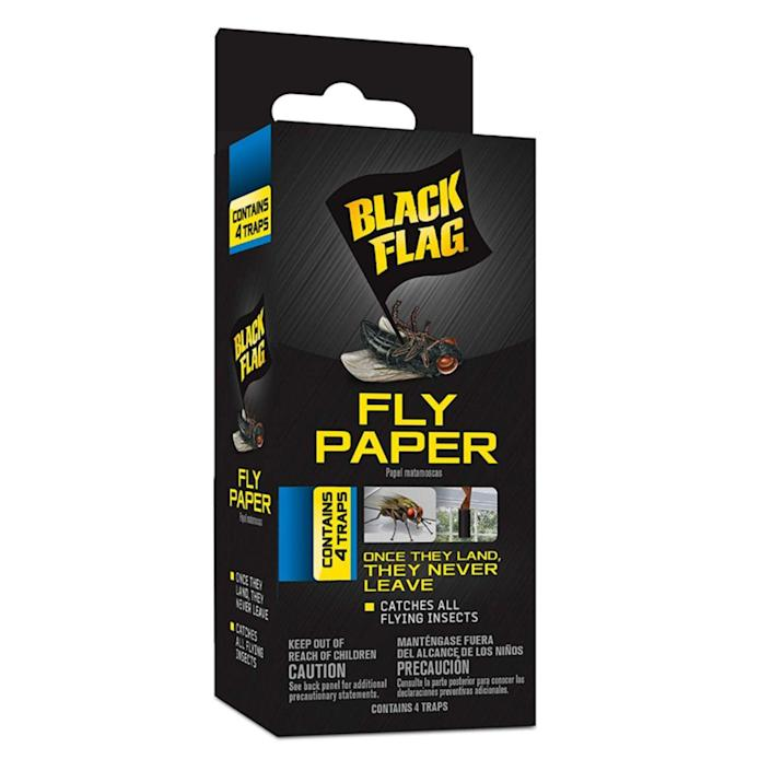 """<p><strong>Black Flag</strong></p><p>amazon.com</p><p><strong>$2.68</strong></p><p><a href=""""https://www.amazon.com/dp/B00AA8X18U?tag=syn-yahoo-20&ascsubtag=%5Bartid%7C2164.g.37002303%5Bsrc%7Cyahoo-us"""" rel=""""nofollow noopener"""" target=""""_blank"""" data-ylk=""""slk:Shop Now"""" class=""""link rapid-noclick-resp"""">Shop Now</a></p><p>You can't go wrong with fly paper, which catches any flying insects. Just unroll the sticky paper using a twirling motion and hang wherever gnats are an issue. We promise they won't be bugging you anymore!</p>"""