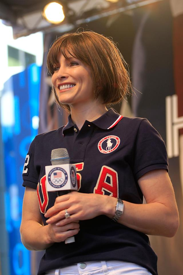 NEW YORK, NY - APRIL 18:  Former Olympic gymnast Shannon Miller of the United States appears on stage during the Team USA Road to London 100 Days Out Celebration in Times Square on April 18, 2012 in New York City.  (Photo by Chris Trotman/Getty Images for USOC)