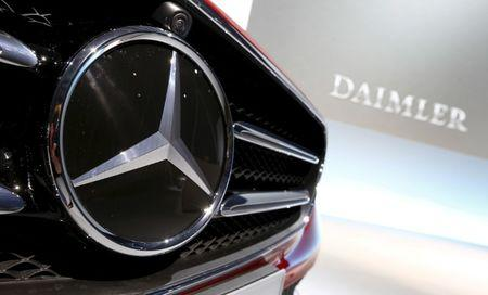 The Mercedes Benz logo is seen before the company's annual news conference in Stuttgart Germany