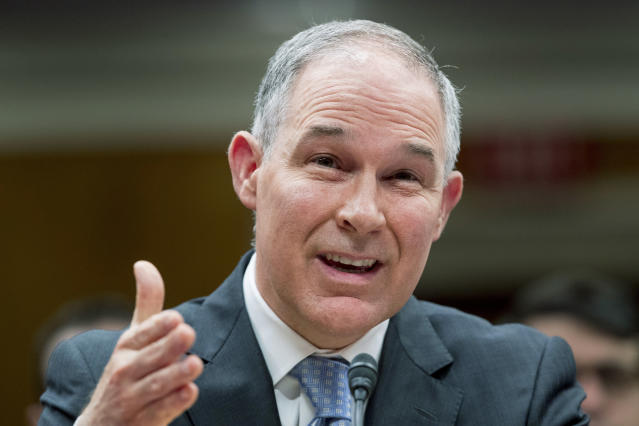 EPA Administrator Scott Pruitt testifies before a Senate Appropriations subcommittee on budget on Capitol Hill on May 16, 2018. (Photo: Andrew Harnik/AP)