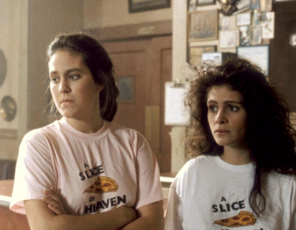Annabeth Gish and Julia Roberts looking concerned.