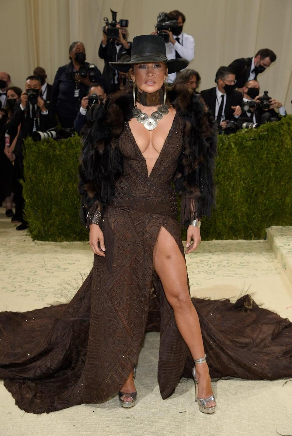 Jennifer Lopez seemed to reference the Wild West at a Met Gala celebrating American fashion (Evan Agostini/Invision/AP) (AP)