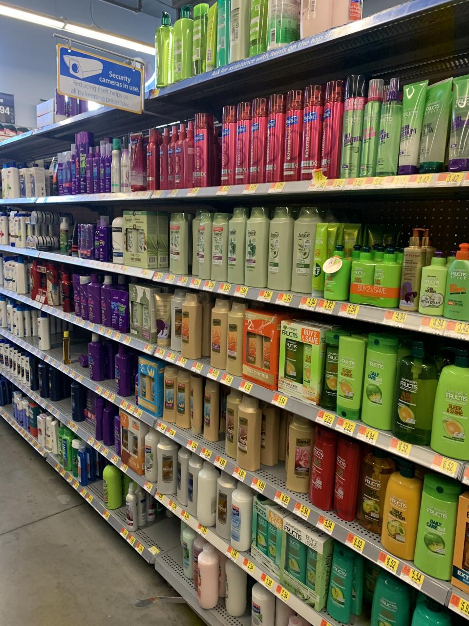 Photo shows white hair products on Walmart shelf