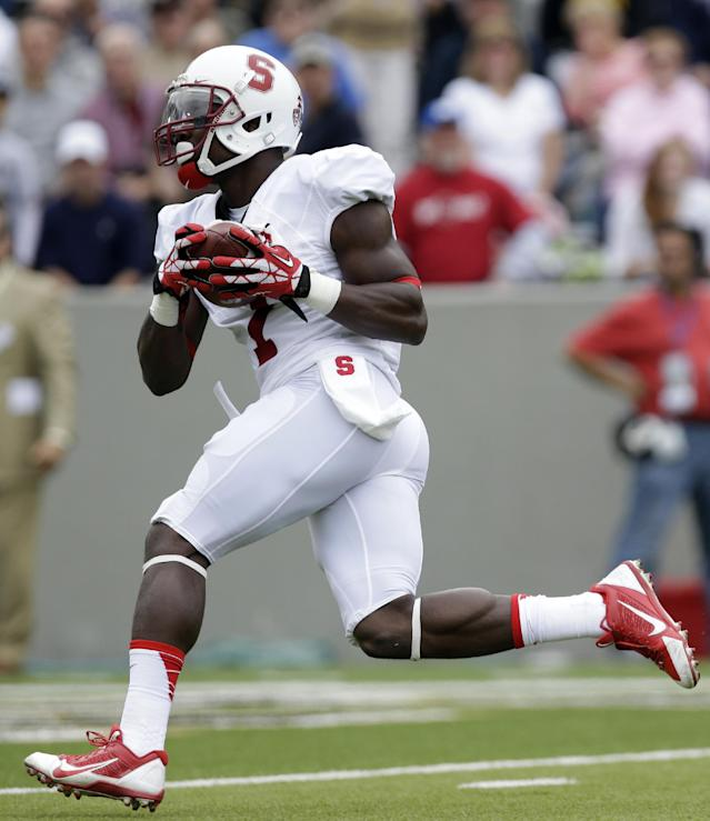 Stanford wide receiver Ty Montgomery (7) scores a touchdown after a reception during the first half of an NCAA college football game against Army on Saturday, Sept. 14, 2013, in West Point, N.Y. (AP Photo/Mike Groll)