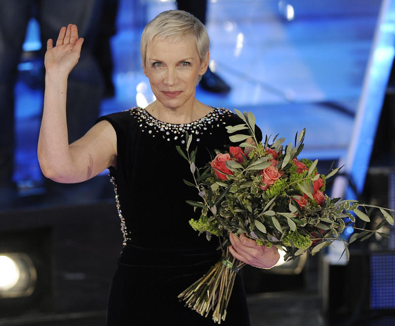 """FILE - This Feb. 21, 2009 file photo shows British musician Annie Lennox during the """"Festival di Sanremo"""" Italian song contes  in San Remo, Italy.  Lennox has married for a third time. The singer's publicist confirms Lennox married Mitch Besser in a private ceremony Saturday, Sept. 15, 2012, in London. Lennox, best known as The Eurythmics singer, and Besser, an American doctor and founder of the charity mothers2mothers, are both 57.   (AP Photo/Antonio Calanni, file)"""