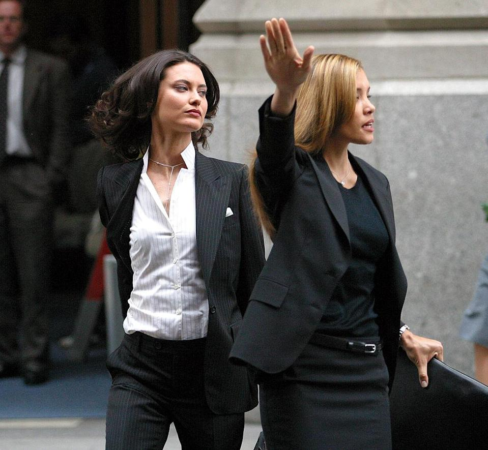 Michael Michele and Shalom Harlow during Matthew McConaughey on the Movie Location of How to Lose a Guy in 10 Days in New York City at Madison Avenue in New York City, New York, United States. (Photo by James Devaney/WireImage)