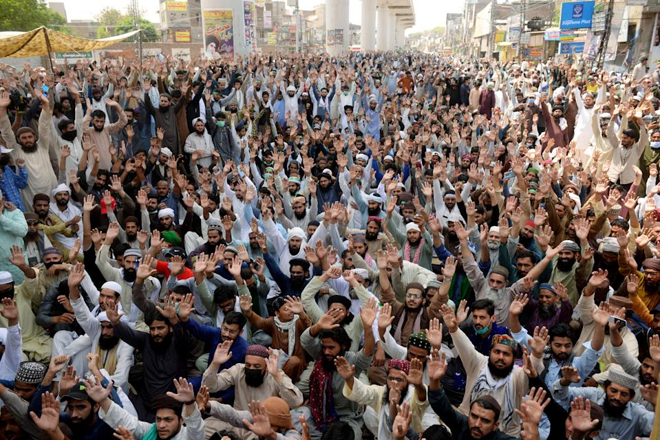 Supporters of the banned Islamist political party Tehrik-e-Labaik Pakistan (TLP) chant slogans during a protest in LahoreREUTERS