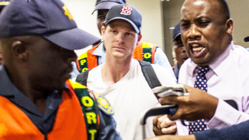 Steve Smith, pictured here being mobbed when he arrived in Johannesburg in 2018.