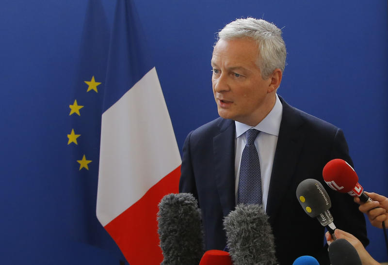 "French Finance Minister Bruno Le Maire speaks to the media during a press conference at the finance ministry in Paris, France, Saturday, July 27, 2019. After Trump slammed the ""foolishness"" of the tax in a tweet Friday and promised reciprocal action, French Finance Minister Bruno Le Maire said ""France will implement"" it anyway.(AP Photo/Michel Euler)"