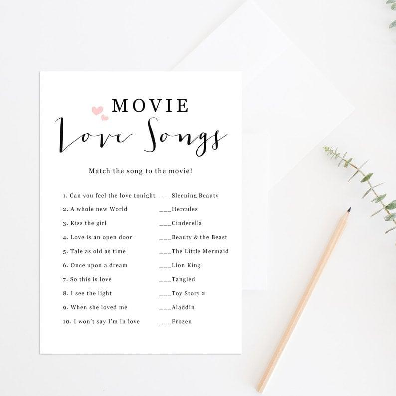 photo relating to Guess the Disney Movie Song Printable referred to as Its Bash Season! These types of 47 Bridal Shower Online games Will Get hold of Your