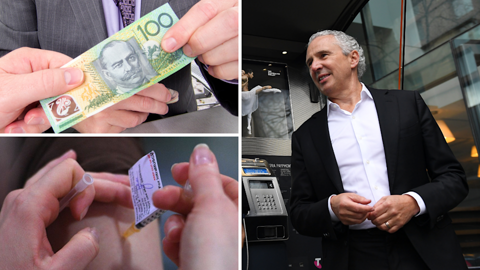 Image of Telstra CEO Andy Penn, vaccine, $100 cash