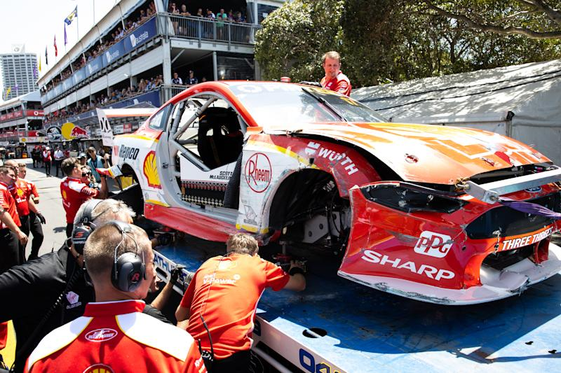 The car of Scott McLaughlin shown after crashing during qualifying for race 2 of the Gold Coast 500 Supercars Championship round.
