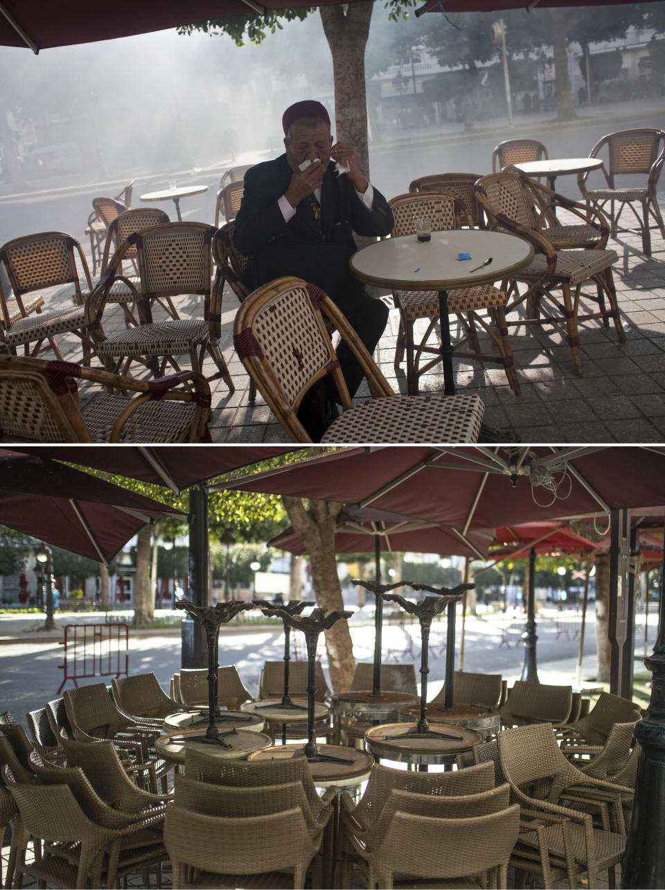 A combo image showing a man trying to breathe through a cloth as teargas during a demonstration against former Tunisian President Zine El Abidine Ben Ali in the center of Tunis, Monday, Jan. 17. 2011 top, and empty chairs and tables packed outside a close street cafe in Tunis' landmark Avenue Habib Bourgiba, where massive protests took place in 2011, on the tenth anniversary of the uprising, during to a national lockdown after a surge in Covid-19 cases, in Tunis, Thursday, Jan. 14, 2021. Tunisia is commemorating the 10th anniversary since the flight into exile of its iron-fisted leader, Zine El Abidine Ben Ali, pushed from power in a popular revolt that foreshadowed the so-called Arab Spring. But there will be no festive celebrations Thursday marking the revolution in this North African nation, ordered into lockdown to contain the coronavirus. (AP Photo/Thibault Camus, Mosa'ab Elshamy)