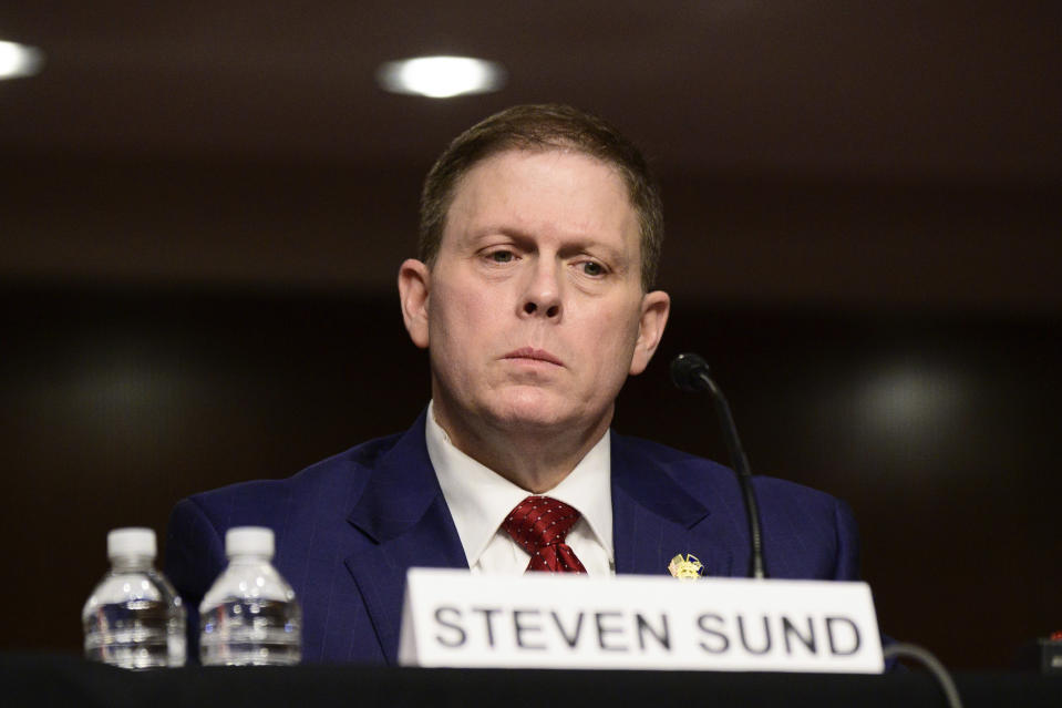 Former U.S. Capitol Police Chief Steven Sund testifies before a Senate Homeland Security and Governmental Affairs & Senate Rules and Administration joint hearing on Capitol Hill, Washington, Tuesday, Feb. 23, 2021, to examine the January 6th attack on the Capitol. (Erin Scott/The New York Times via AP, Pool)
