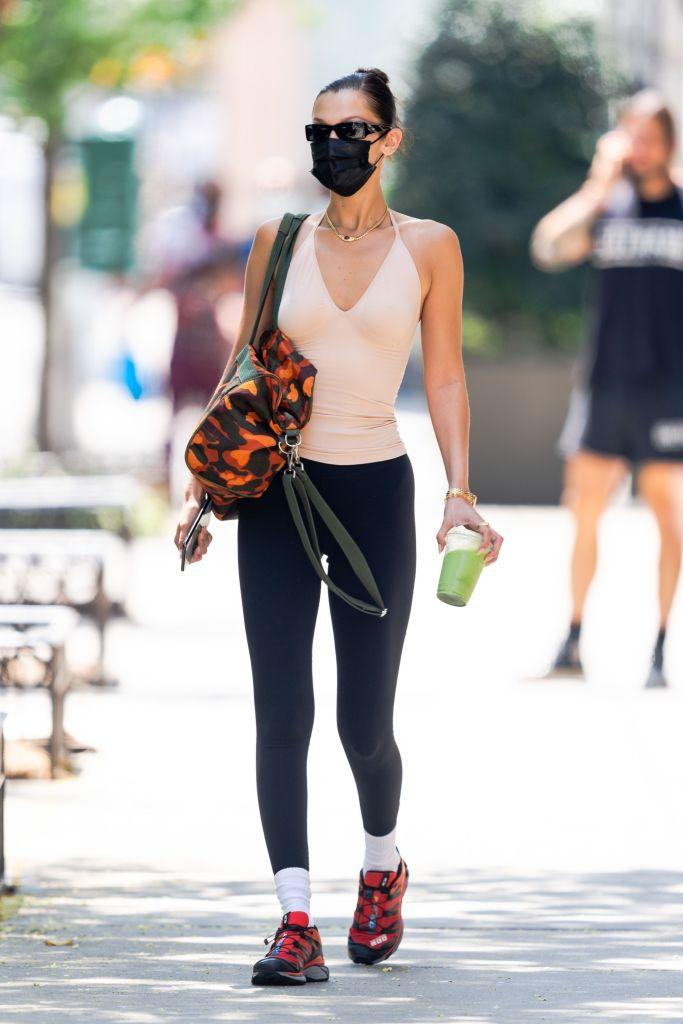 NEW YORK, NEW YORK - AUGUST 06: Bella Hadid is seen in the West Village on August 06, 2021 in New York City. (Photo by Gotham/GC Images)