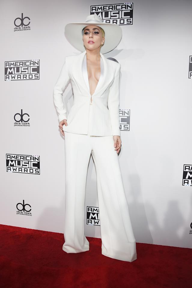 Gaga's fifth album,<em> Joanne</em>, was met with mixed reviews. But what it did bring fans was her iconic cowboy hat and suits. One of the singer's most beloved <em>Joanne</em> outfits was at the 2016 AMAs where she wore a white wide-brimmed hat and a matching pantsuit that even Hillary Clinton would envy.