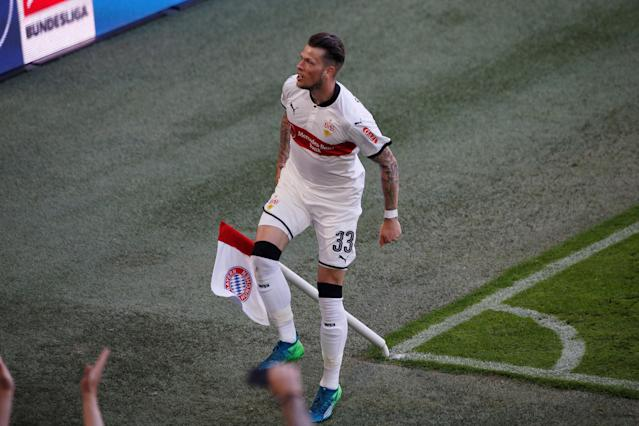 Soccer Football - Bundesliga - Bayern Munich v VfB Stuttgart - Allianz Arena, Munich, Germany - May 12, 2018 Stuttgart's Daniel Ginczek celebrates scoring their fourth goal REUTERS/Michaela Rehle DFL RULES TO LIMIT THE ONLINE USAGE DURING MATCH TIME TO 15 PICTURES PER GAME. IMAGE SEQUENCES TO SIMULATE VIDEO IS NOT ALLOWED AT ANY TIME. FOR FURTHER QUERIES PLEASE CONTACT DFL DIRECTLY AT + 49 69 650050