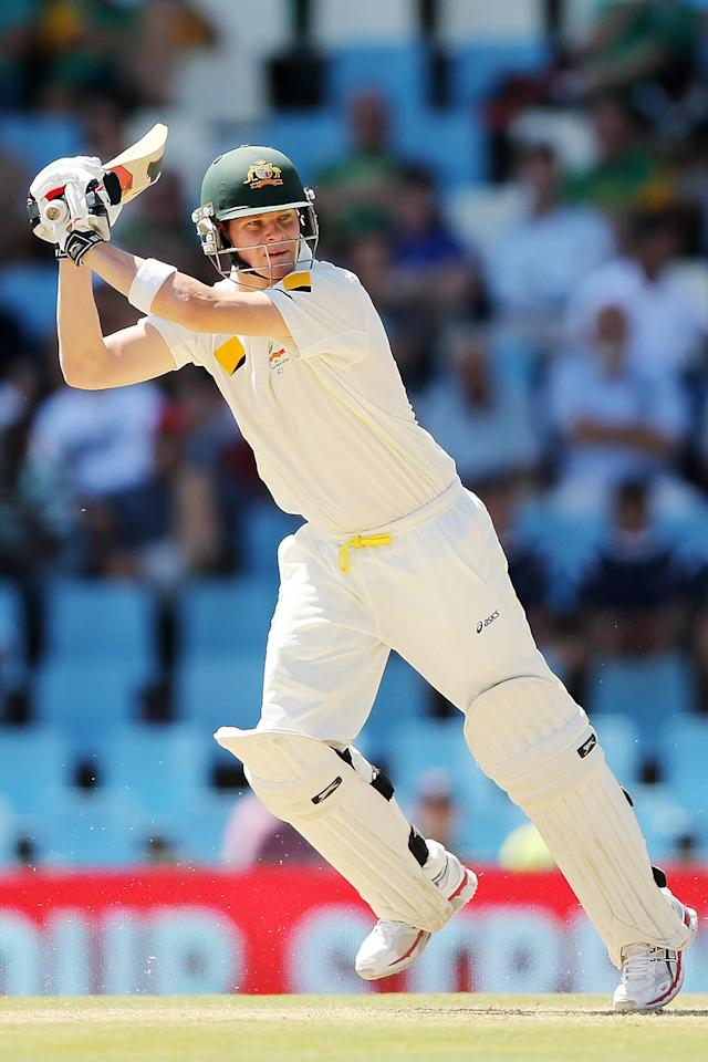 CENTURION, SOUTH AFRICA - FEBRUARY 12: Steven Smith of Australia bats during day one of the First Test match between South Africa and Australia on February 12, 2014 in Centurion, South Africa. (Photo by Morne de Klerk/Getty Images)