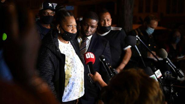 PHOTO: Walter Wallace, Jr.'s mother speaks to the press on Oct. 27, 2020 in Philadelphia, about the police killing of her son the previous day. Protesters gathered for a march over the death of Wallace. (Andrew H Walker/Rex News via Shutterstock)