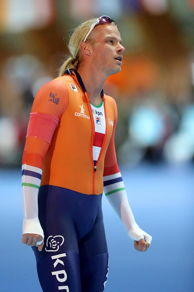 <p>Koen Verweij of the Netherlands is seen after men 1000m Division A race during Day 2 of the ISU World Cup Speed Skating at Gunda-Niemann-Stirnemann-Halle on January 20, 2018 in Erfurt, Germany. (Photo by Christof Koepsel – ISU/ISU via Getty Images) </p>