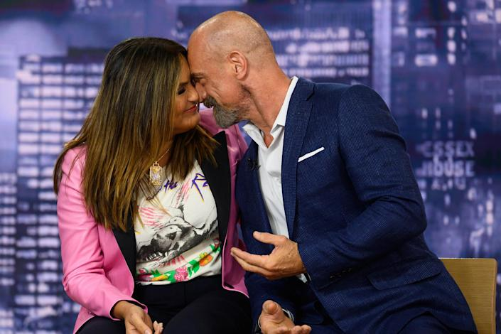 <p>Mariska Hargitay and Christopher Meloni share one of their signature sweet moments on NBC's <em>Today</em> on Sept. 23 in N.Y.C. while promoting the upcoming seasons of <i>Law & Order: Special Victims Unit</i> and <i>Law & Order: Organized Crime</i>.</p>