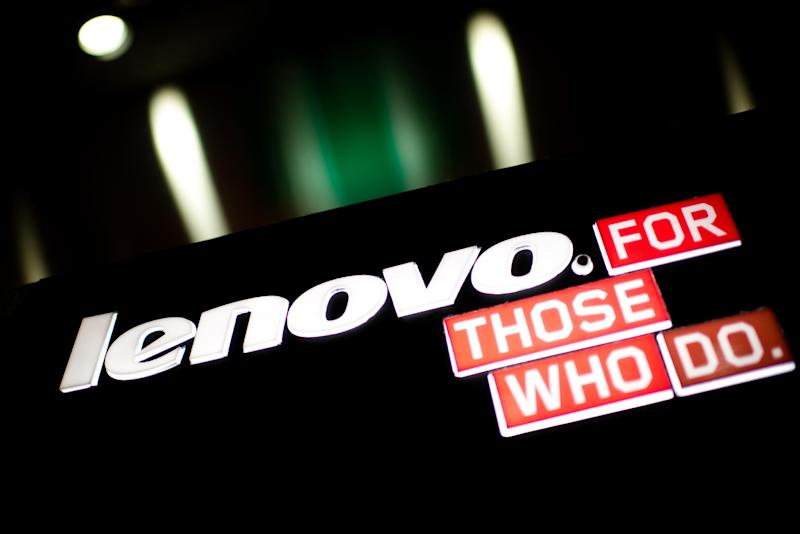 A Lenovo logo on display in Hong Kong on February 13, 2014. Shares in the Chinese technology giant drop 5% after it posts weaker than expected revenue figures