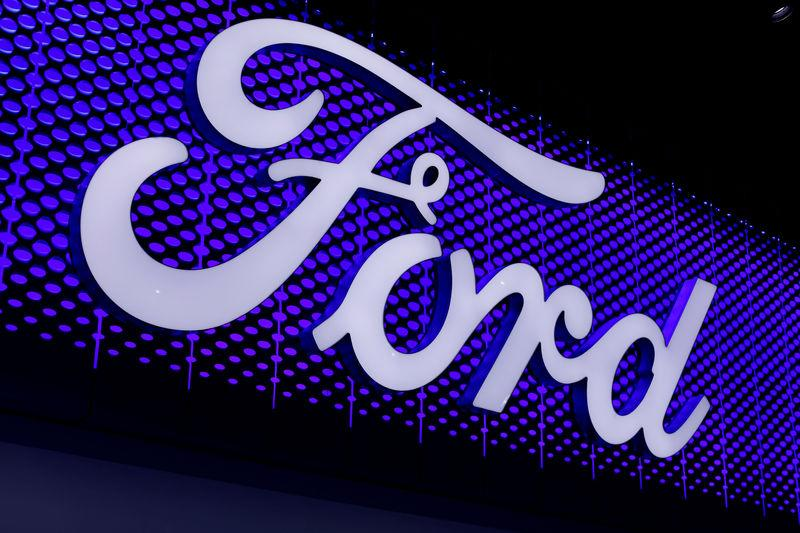 FILE PHOTO: The Ford Motor Company logo is pictured at the Los Angeles Auto Show