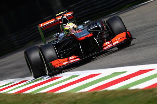 MONZA, ITALY - SEPTEMBER 07: Sergio Perez of Mexico and McLaren drives during qualifying for the Italian Formula One Grand Prix at Autodromo di Monza on September 7, 2013 in Monza, Italy. (Photo by Clive Mason/Getty Images)