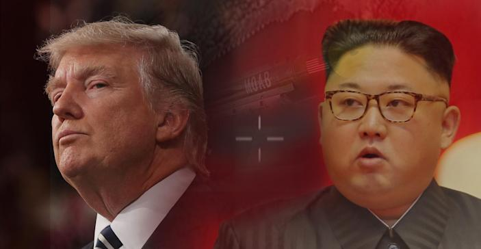 President Trump and North Korean leader Kim Jong Un. (Photo-illustration: Yahoo News; photos: Jim LoScalzo/Pool via CNP/MediaPunch and IPX, KNCA via Reuters, AP)