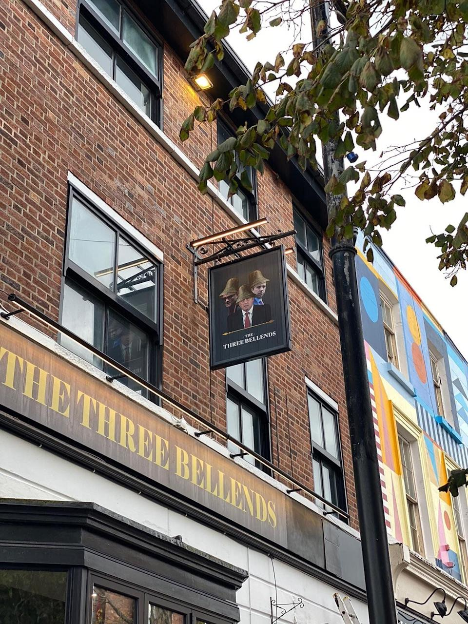 A Merseyside pub has temporarily renamed itself 'The Three Bellends' in protest against the government. (Photo: HuffPost UK)