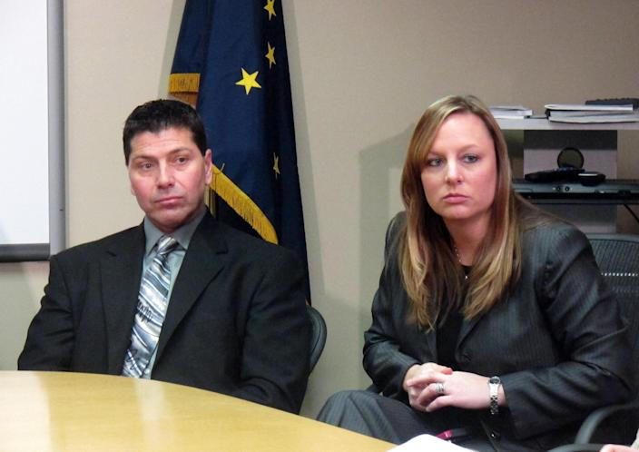 FILE - In this file photo taken Dec. 10, 2012, in Anchorage, Alaska, Anchorage police officer Jeff Bell, left, and FBI Special Agent Jolene Goeden speak at a news conference after confessed serial killer Israel Keyes committed suicide at the Anchorage jail. Keyes showed no remorse as he detailed how he'd abducted and killed an 18-year-old woman, then demanded ransom, pretending she was alive. His confession cracked the case, but prosecutors questioning him soon realized there was more, he has killed before. Before divulging more details, Keyes committed suicide in his cell. (AP Photo/Mark Thiessen)
