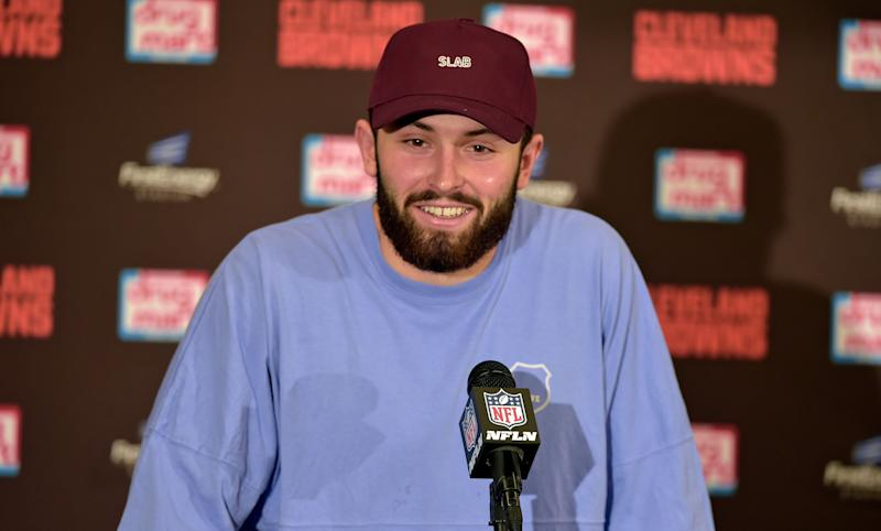 9c6d286d0 Cleveland Browns quarterback Baker Mayfield smiles as he answers questions  during a news conference after an