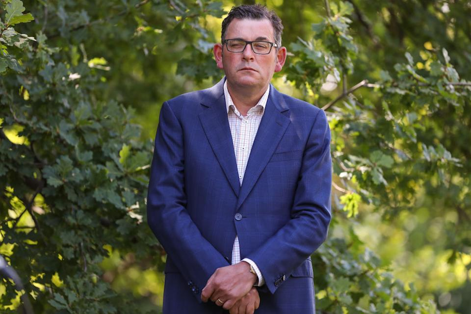 Premier of Victoria Daniel Andrews looks on during a press conference in Melbourne, Australia.
