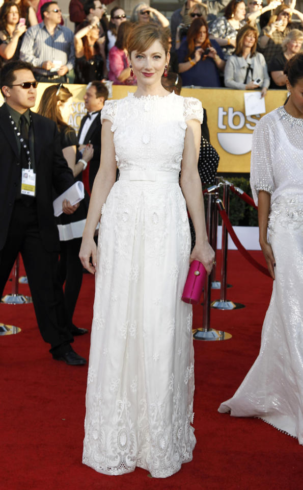 Judy Greer (in Collette Dinnigan) arrives at the 18th Annual Screen Actors Guild Awards at The Shrine Auditorium in Los Angeles, California.
