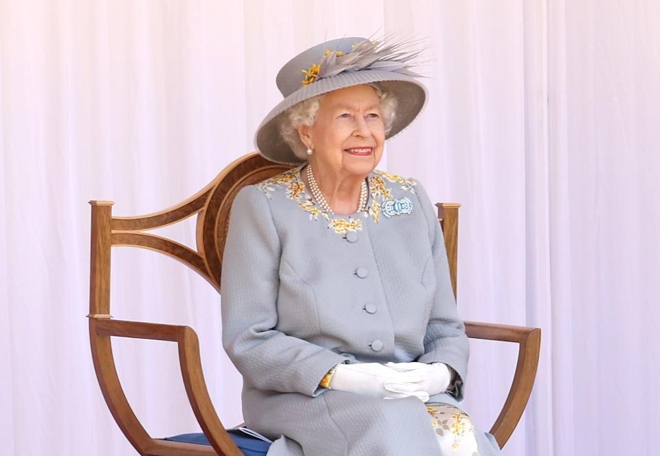WINDSOR, ENGLAND - JUNE 12: attends a military ceremony in the Quadrangle of Windsor Castle to mark her Official Birthday on June 12, 2021 at Windsor Castle on June 12, 2021 in Windsor, England. (Photo by Chris Jackson/Getty Images)