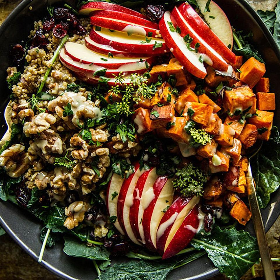 "<p>Pumpkin gets all the credit when it comes to fall flavors, but this <a href=""http://heatherchristo.com/2015/10/11/spiced-apple-cider-and-sweet-potato-quinoa-bowl/"" target=""_blank"">Spiced Apple Cider and Sweet Potato Quinoa Bowl</a> is bringing apple back into the spotlight. Craisins, walnuts, and kale provide different textures to this delicious healthy bowl, and don't be surprised when you find yourself drizzling the apple cider dijon vinaigrette on everything.</p>"