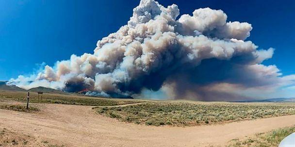PHOTO: The Robertson Draw fire burns south of Red Lodge, Mont., June 15, 2021. The fire grew rapidly amid a heat wave and gusting winds. (Amy Hyfield/U.S. Forest Service via AP)