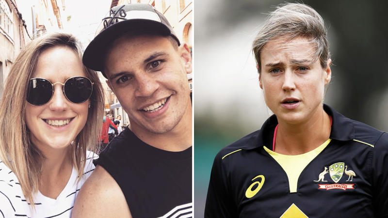 Ellyse Perry posed with Matt Toomua (pictured left) and Perry walking off after a wicket (pictured right).
