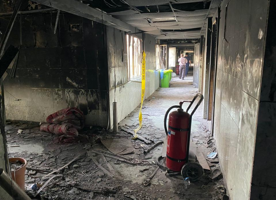 The intensive care unit of the Ibn al-Khatib hospital is damaged following a fire that broke out of last Saturday evening killing over 80 people and injuring over 100, in Baghdad, Iraq, Tuesday, April 27, 2021. Medical staff who witnessed the first moments of a Baghdad hospital fire described horrific scenes: deafening screams, a patient who jumped to his death to escape the inferno and relatives who died because they refused to abandon coronavirus patients tethered to ventilators. (AP Photo/Khalid Mohammed)