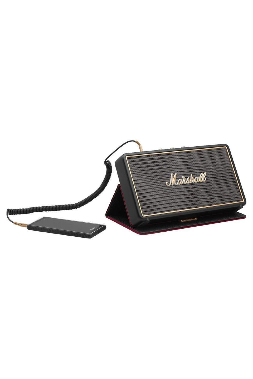 """<p><a rel=""""nofollow noopener"""" href=""""https://www.amazon.com/Marshall-Stockwell-Portable-Bluetooth-Speaker/dp/B0168SBIR6"""" target=""""_blank"""" data-ylk=""""slk:BUY NOW"""" class=""""link rapid-noclick-resp"""">BUY NOW</a></p><p><strong><em>$139.85, Amazon</em></strong></p><p>Music lovers can appreciate this pint-sized speaker with a surprisingly big sound. Play tunes via Bluetooth, or plug in a phone to charge while streaming Spotify.</p>"""