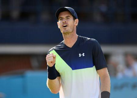 Tennis - ATP 500 - Fever-Tree Championships - The Queen's Club, London, Britain - June 19, 2018 Great Britain's Andy Murray reacts during his first round match against Australia's Nick Kyrgios Action Images via Reuters/Tony O'Brien